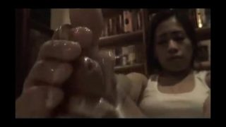 Asian gives the greatest footjob ever!.. Milking like a pro