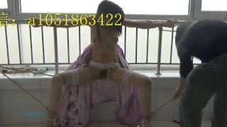 China-大奶嫩模沐沐接私活被变态眼镜摄影师捆绑SM各种调教模仿古代红绳自慰